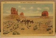 """Vintage Linen Postcard ~ """"The Mittens"""" in Monument Valley NP, Arizona ~Unused"""