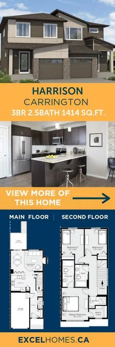 Show Home: Harrison in Carrington, NW Calgary 3 Bedroom Home Floor Plans, Small House Floor Plans, House Plans, Small House Design, Dream Home Design, Calgary, Building Design, Building A House, House Ideas