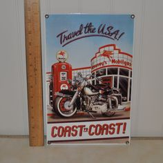 "Ande Rooney Porcelain Enamel Sign ""Travel the U.S.A.!"" by VintageRevisitedWA on Etsy"