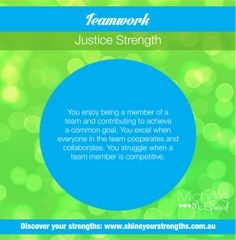 Do you have the strength of teamwork? You can build this strength by:  •	Encouraging colleagues to share their thoughts in meetings. •	Playing a team sport you enjoy. •	Volunteering for team based activities at work or in your community.  Want to discover more ways to put your strengths to work? Visit www.shineyourstrengths.com.au Self Regulation, Positive Psychology, Teamwork, A Team, Are You Happy, Leadership, Encouragement, Finding Yourself, Strength