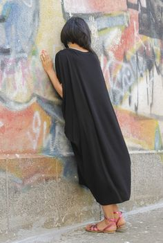 RAYA black extravagant loose asymmetrical dress/ by Comfortissimo, $65.00