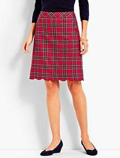 f329bde9d Red Plaid A-Line Skirt Scallop Hem Plaid Skirts, Red Skirts, White Skirts