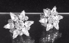 Vintage Art Deco Clear Rhinestone Earrings, Star Design Screwbacks, Dainty, Delicate Earrings, Wedding Earrings, Brilliant Rhinestones