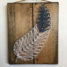 Blue feather string art #threadtherpy