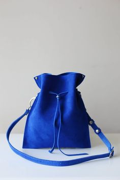 Blue Bag, Royal Blue, Small Leather Bag, Leather Bucket Bag, Leather Crossbody Bag, Leather Shoulder