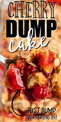 With sweet cherry pie filling and layers of flavor and texture, this Cherry Dump Cake recipe is simple to make and delicious to eat warm with ice cream. Dump Cake Recipes, Dessert Recipes, Dump Cakes, Frosting Recipes, Yummy Recipes, Recipies, My Favorite Food, Favorite Recipes, Canning Cherry Pie Filling