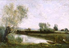 La Pêche et la Fenaison (Environs de Ville d'Avray), c. 1865-70 by Jean-Baptiste-Camille Corot (French, 1796 - 1875)