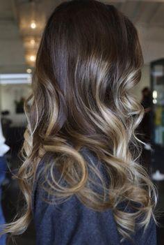 ash brown hair with caramel balayage highlights