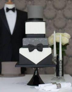 Tuxedo Cake for Groom's Cake, black, white, gray, unique wedding cake Gorgeous Cakes, Pretty Cakes, Cute Cakes, Amazing Cakes, Gateau Aux Oreos, Fondant Cakes, Cupcake Cakes, Tuxedo Cake, London Cake