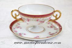 ANTIQUE BOUILLON Cup and Saucer by LS&S Lewis Strauss and