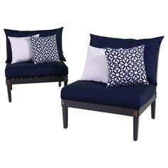Modern Living Room Astoria Navy Armless Chair Black Cherry Wood Leg Frame Materials Navy Blue White