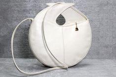 Vtg 80s White Leather Round Avant Garde Sculptural Purse Bag. $100.00, via Etsy.