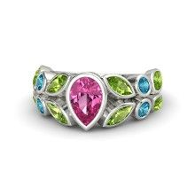 Pear Pink Sapphire Platinum Ring with Peridot and London Blue Topaz - Garland Ring: In this stunning ring inspired by 19th century architectural flourishes, marquise and round bezel-set gems surround and frame a center pear shape in a beautiful leafy mosaic.
