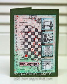 Bon Voyage Collage card by Godelieve Tijskens using Darkroom Door Stamps: Checkered Texture Stamp, Travel Inchies Rubber Stamps, Calendar Rubber Stamps. http://www.darkroomdoor.com/texture-stamps/texture-stamp-checkered