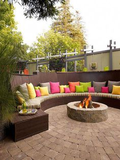 37 Spring Outdoor Seating Ideas for Relaxing. You have some ideas in your mind of what you would like to do, and you've saved a great deal of outdoor patio pins. Outdoor seating ideas supply an . Cozy Backyard, Backyard Seating, Fire Pit Backyard, Backyard Ideas, Firepit Ideas, Patio Bench, Backyard Fireplace, Backyard Pavers, Patio Ideas