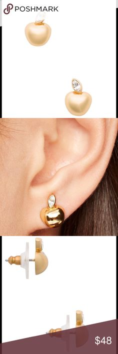 """♠️KATE SPADE """"APPLE OF MY EYE"""" HANDCRAFTED STUDS🍎 ♠️KATE SPADE HANDCRAFTED """"APPLE OF MY EYE"""" STUDS♠These golden apple earrings are affixed with a foil-backed crystal for extra sparkle!! These handcrafted gold apple studs features 14-karat gold filled posts. The material is shiny 12-karat gold plated metal and shiny glass stones. DETAILS: The width is .5"""", drop length: 0.75"""", weight: 3 grams. These are an ode to NYC as a homage to their hometown. kate spade Jewelry Earrings"""