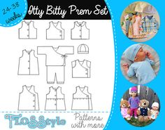 ITTY BITTY INFANT Pattern Newborn & Premature Prem baby sewing outfits Micro Prem from 1.5lb / 0.6kg to 8.5lb / 3.8kg