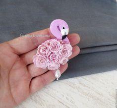 Купить Фламинго Брошь из полимерной глины - розовый, фламинго, фламинго брошь, розовый фламинго