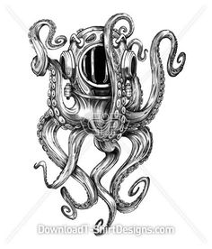 Octopus Tentacles Water Diver Helmet. Like this Design? Download now at: http://downloadt-shirtdesigns.com/all-designs/downloadt-shirtdesigns-com-2121233.html