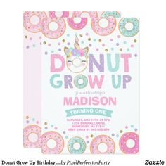 Donut Birthday Parties, Donut Party, Birthday Party Themes, Birthday Ideas, Birthday Cards, Birthday Gifts, Graduation Parties, Grown Up Parties, Girl Parties