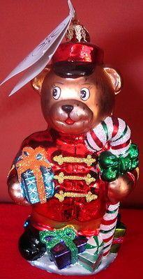 CHRISTOPHER RADKO 2001 Teddy Bear CHRISTMAS ORNAMENT BLOWN GLASS