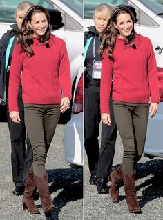 Catherine, Duchess of Cambridge, arrives to head out on a fishing trip with Skidegate Youth Centre children on September 30, 2016.
