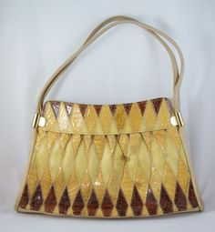 VINTAGE 1970s JANE SHILTON SNAKE SKIN & LEATHER BAG HANDBAG @19.95