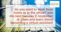 So what's a VA? Is it something you can do? Join me next Tuesday 8 November at 10am. Free Virtual Assistant Webinar. Just subscribe and if you can't attend don't worry you'll get the replay anyway. https://va4yourbiz.webinarninja.co/my/wnwebinarlist/index?webinar_id=40542 #virtualassistant #workingfromhome