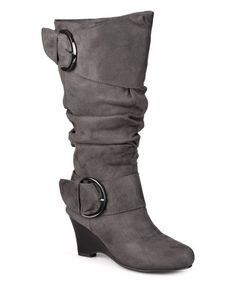 This Gray Irene Extra Wide-Calf Wedge Boot is perfect! #zulilyfinds