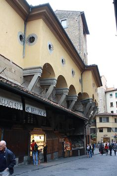 Ponte Vecchio Bridge in Florence Italy. There is passage upper. To connect between office and house, Palazzo Pitti and Palazzo Vecchio.