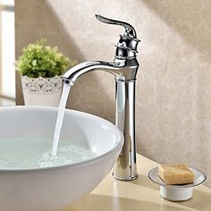 Bathroom Sink Taps in Contemporary Style  Centerset Chrome Finish Taps