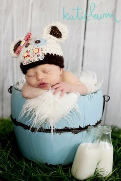 Newborn Cow Hat - Photo Prop - Newborn - Barnyard Cutie. $28.00, via Etsy.I love how unique this is!