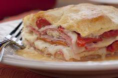 Italian Layer Bake... use Genoa salami (instead of hard salami), and provolone/mozzarella mix (instead of Swiss) cheese | MrFood.com