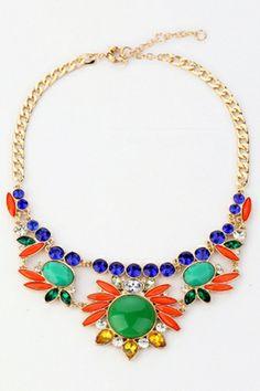 Tribal Rhinestone Embellishment Necklace OASAP.com