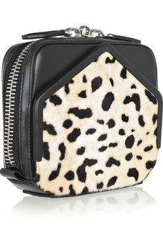 Alexander Wang | Adriel leather and printed calf hair clutch | NET-A-PORTER.COM