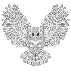 Stock vector of 'Zentangle stylized cartoon eagle owl, isolated on white background. Hand drawn sketch for adult antistress coloring page, T-shirt emblem, logo or tattoo with doodle, zentangle, floral design elements.'
