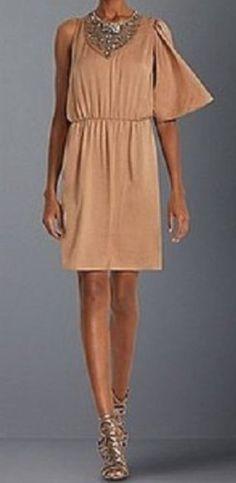 BCBG Max Azria Brown One Sleeve Bejeweled Top Dress