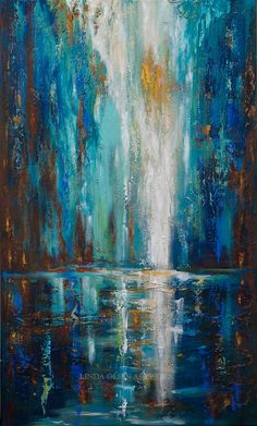"""Vicki Schaet commissioned me to do this very large abstract of a waterfall for her tall wall in her home. It went through many stages of lights, then darks, taking away colors and adding colors, and on Wednesday, I had her come to the painting studio to give a second set of eyes and direct the final touches. It actually really helped to have her there since abstracts change drastically sometimes with each brush stroke. It is 36 x 60"""" gallery wrap and now with layers of paint, and plasters…"""