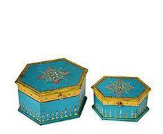 Set de 2 Joyeros de Madera - multicolor