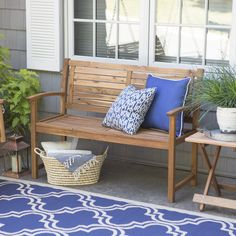 Coral Coast Norwood 4 ft. Horizontal Slat Back Outdoor Wood Garden Bench | from hayneedle.com