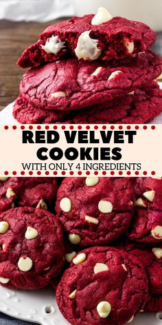 These Red Velvet Cake Mix Cookies are soft, chewy & filled with white chocolate chips. There's only 4 ingredients and they're the perfect easy red velvet cookie for Christmas or Valentine's! food for dinner easy recipes Red Velvet Cake Mix Cookies Cake Mix Recipes, Easy Cookie Recipes, Cake Mixes, Easy Baking Recipes, Sweets Recipes, Valentine Cookie Recipes, Soft Food Recipes, Valentine Food Ideas, Valentines Bakery