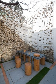 Stone Gabion wall--my favorite | Cafe Ato by Design BONO, Seoul store design