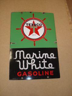 Vintage Porcelain Texaco Marine White Sign