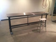 Rolling steel and stainless workbench
