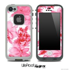 Light Neon Pink Flowers Skin for the iPhone 5 or 4/4s LifeProof Case