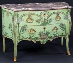 a-l-ancien-regime:    18th century Neapolitan painted bombe commode decorated with scrolls and swags in tones of green and violet.  (via Mallett Antiques)