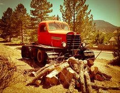 Homemade Tractor Truck Photograph - Signed Fine Art Print -  Retro Car, Farm Equipment, Logging