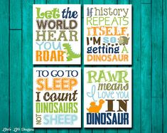 Dinosaur Wall Art. Dinosaur Wall Decor. by LittleLifeDesigns
