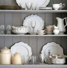 Farmhouse Country hutch - Great paint color and arrangement - love the white dishes - stoneware, iron ware