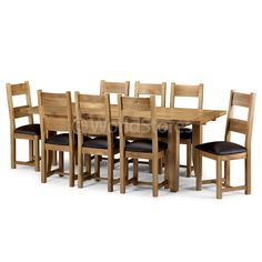 Calgary Solid Oak Large Extending Dining Set with 10 Leather Padded Chairs A  sc 1 st  Pinterest : chaise lounge calgary - Sectionals, Sofas & Couches